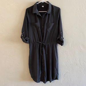 Old Navy Dark Gray Silky Long Sleeve Shirt Dress L